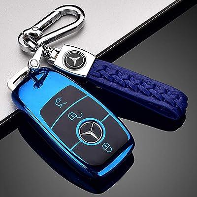 121Fruit Way Suit for Mercedes Benz Key Fob Cover, Premium Fashion Appearance Key Case Cover Mercedes Benz E Class, 2020 up S Class, 2020 2020 W213 Keyless Smart Key Fob_Blue: Automotive