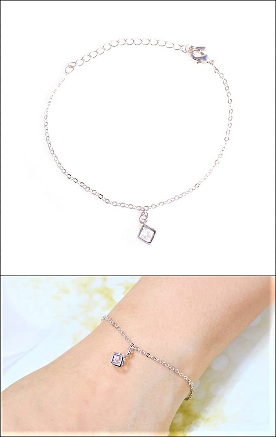 Shimjee Handmade 14K Gold Filled Bracelet,Solid Cube Pendant with Cubic Zirconia Thin Chain White Gold