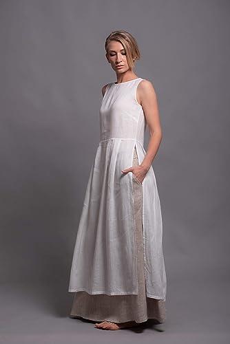 eb68d4ed011f Amazon.com  NERO Long Tunic Tank Top White Linen dress for Women ...