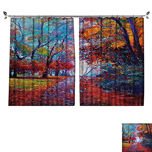 (Thermal Insulated Blackout Curtain with Hook Colorful Fairy Pa Park Fall Arts View The Earth Reduce Noise Pollution,W63)