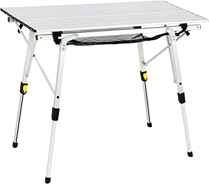 Amazon Com Portal Outdoor Folding Portable Picnic Camping Table With Adjustable Height Aluminum Roll Up Table Top Mesh Layer Sports Outdoors
