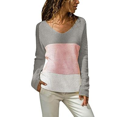 769a8804d7b Susenstone Femme Chemisier Pin Up Tricoté Sweater