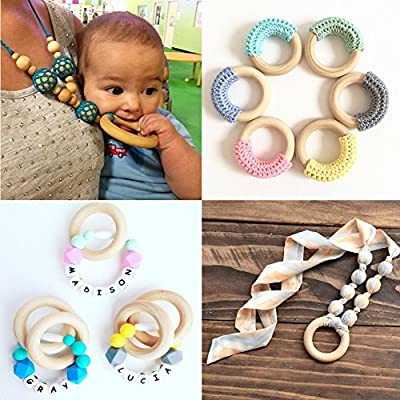 Ladaidra 5pcs 70mm Baby Wooden Teething Rings Necklace Bracelet DIY Crafts Natural New: Toys & Games