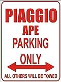 INDIGOS - Parkplatz - Parking Only- Weiß-Rot - 32x24 cm - Alu Dibond - Parking Only - Parkplatzschild - Piaggio ape