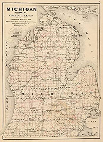 Wall Art Print entitled Vintage Map Of Michigan (1873) 2 by Alleycatshirts @Zazzle - Michigan Antique Map
