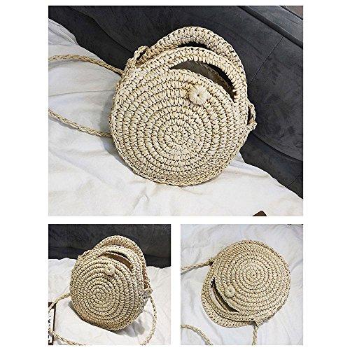 éclair sacs sac à 2 de pouces bandoulière femmes les sacs 8 Weave ronde marron main pour à plage poignée d'été sac bandoulière à à main paille Beige 7 à Pawaca sac fermeture x7qw44