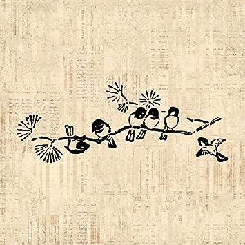 Amazon.com: Lindo Pájaros impresión Vintage pájaros en rama ...