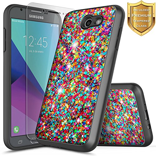 Galaxy J7 Sky Pro Case, J7V /J7 Perx /J7 Prime/Halo /J7 2017 (J727) w/[Tempered Glass Screen Protector], NageBee Glitter Sparkle Shiny Bling Hybrid Girls Cute Case -Rainbow