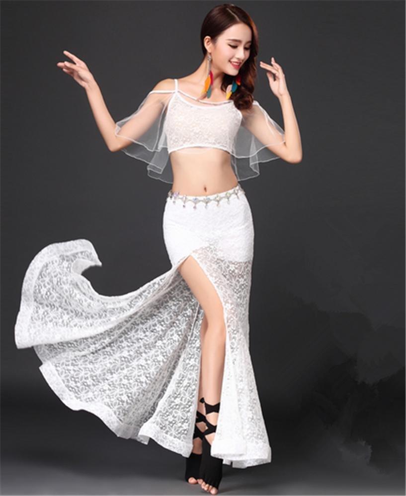 Blanc peiwne Vêtements de Danse du Ventre pour Femmes Costume de Formation de Danse du Ventre   2pcs M