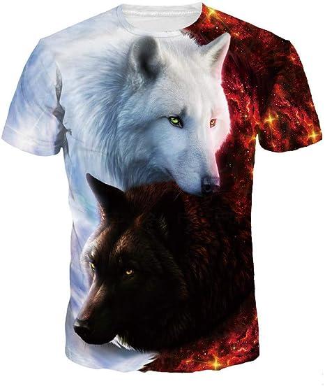zhuke T-Shirt a Maniche Corte da Donna Slim Fit Stampa Digitale Animalier 3D Estate Derrick Aled k