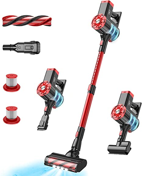 INSE Cordless Vacuum Cleaner 25Kpa Strong Suction 6 In 1 Stick Vacuum Lightweight Handheld Vacuum Cleaner with Wall Mount Digital Display and LED Motorized Brush For Hair Carpet Floor Car Pet Vacuum