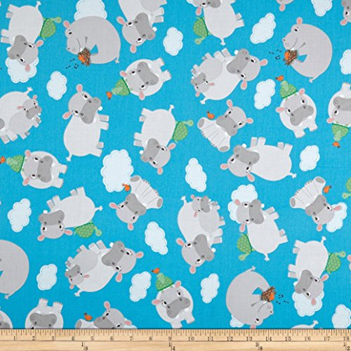 Mook Fabrics Hippo Tossed Hippos Fabric, Blue, Fabric By The ()