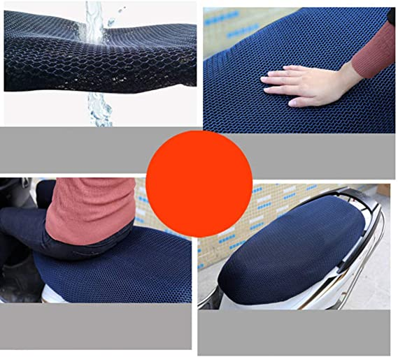 BESPORTBLE Motorcycle Seat Cover Waterproof Heat Insulation Cover Sunscreen Seat Cover Elastic Seat Cushion Protect Cover for Motor Size L Blue