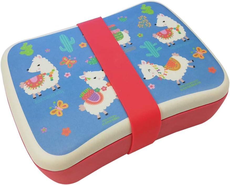 Fiambrera bambú Infantil,Lonchera Infantil, Material ecológico sin BPA, Apto para lavavajillas, Ideal para niños, bebé-Llama Azul