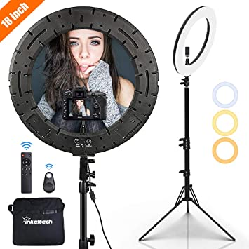 18-inch Outer Dimmable LED Ring Light Kit Includes 60W Bi-Color 3000k-6000K Small Ring Light Light Stand Soft Tube Phone Holder Ball Head for Make Up Portrait Photography