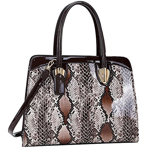 Brown Snakeskin Purse - Dasein Patent Faux Leather with Snake Skin Detail Shoulder Bag (Brown)