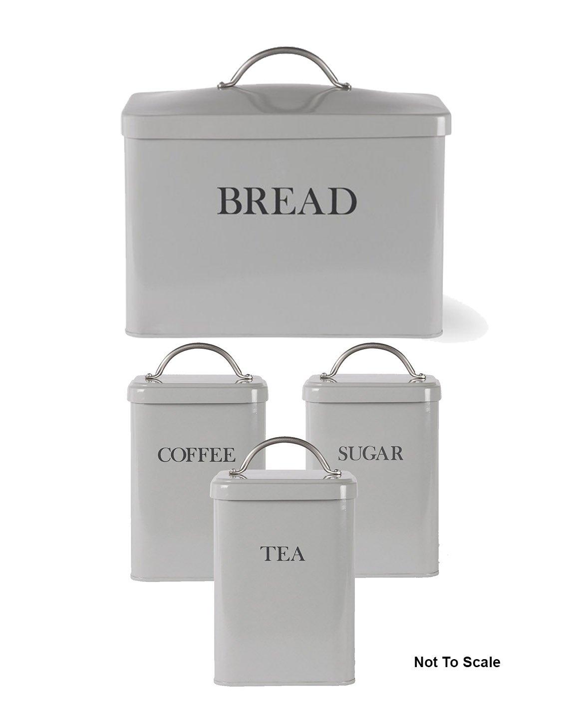 Garden Trading Bread Bin And Tea Coffee Sugar Canister Flint