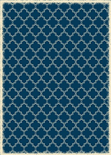 Table in a Bag RUG9B57 Vinyl Rug, 5'x7', Blue & White