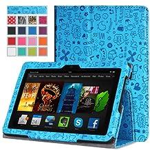 MoKo Amazon Kindle Fire HDX 7 Case - Slim Folding Case for Kindle Fire HDX 7.0 Inch 2013 Gen Tablet, Cutie Charm BLUE
