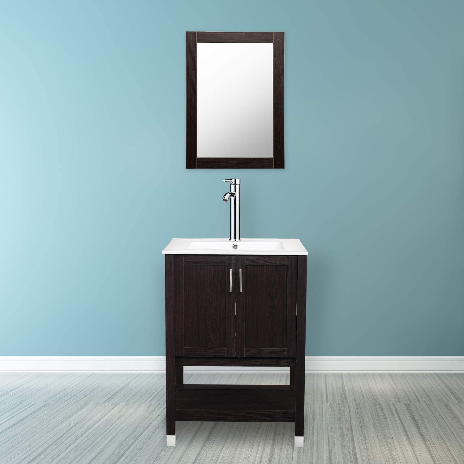 DOIT 24 inch Modern Bathroom Vanity and Sink Combo Stand Cabinet,Wood Bathroom Sink Vanity Set with Drawers,White Ceramic Vessel Sink with Fauce Hole and Pop Up Drain,with Mirror vanity with big sink