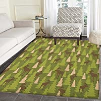 Deer Area Rug Carpet Animals in the Forrest Mooses and Pine Trees Pattern Canada Foliage Mammal Design Living Dining Room Bedroom Hallway Office Carpet 5x6 Green Tan Brown