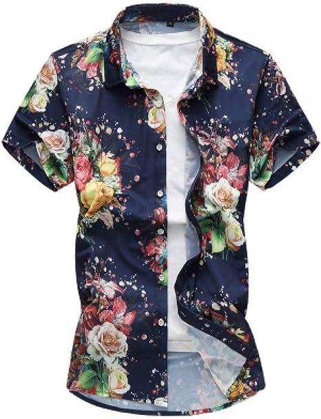 GFRBJK Ropa Hombre Camisas Florales Verano Casual Plus Size 6XL 7XL Camisa de Manga Corta para Hombre , Azul Marino ,: Amazon.es: Deportes y aire libre