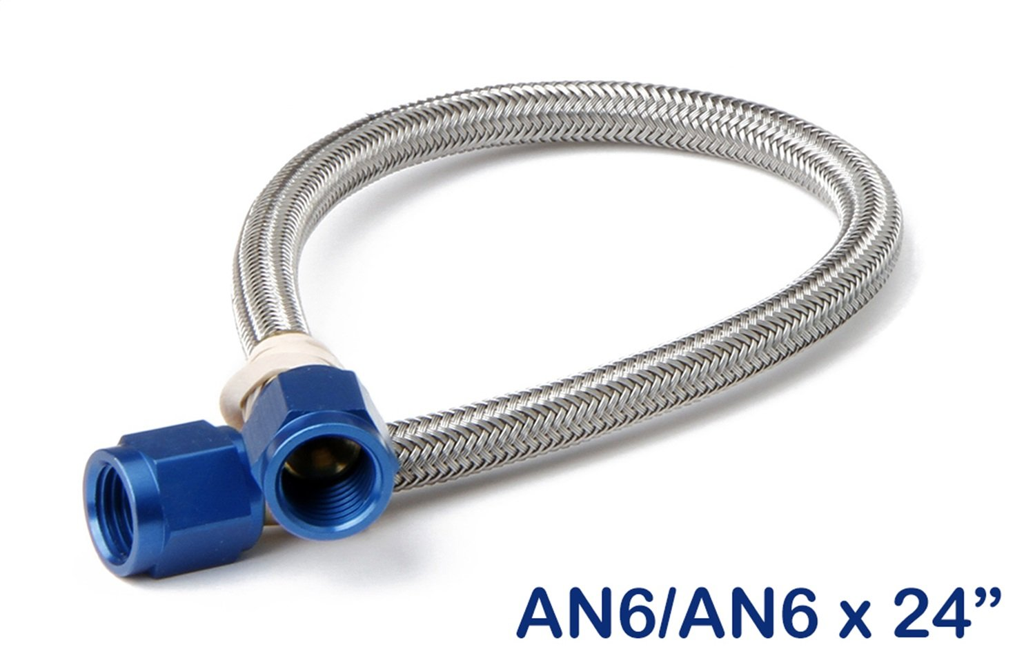 NOS 15410NOS Stainless Steel 2' Braided Hose with -6AN Blue Fittings NOS/Nitrous Oxide System