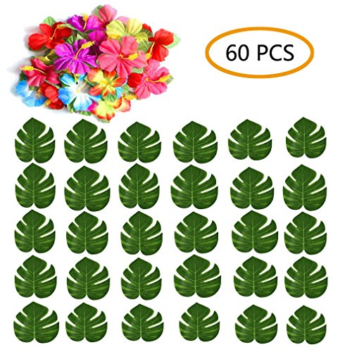 Ainic 60 Pcs Tropical Palm Monstera Leaves and Hibiscus Flowers, Simulation Leaf for Hawaiian Luau Party, Jungle Beach Theme Table Decorations