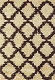 Adgo Chester Shaggy Collection Moroccan Mediterranean Trellis Lattice Design Vivid Color High Soft Pile Carpet Children Bedroom Living Dining Room Shag Floor Area Rug (5′ x 7′, S28 – Camel Brown) Review