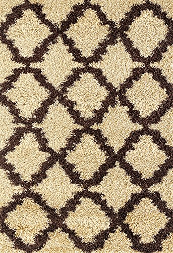 - Adgo Chester Shaggy Collection Moroccan Mediterranean Trellis Lattice High Soft Pile Carpet Thick Plush Fluffy Furry Children Bedroom Living Dining Room Shag Floor Rug (5' x 7', S28 - Camel Brown)