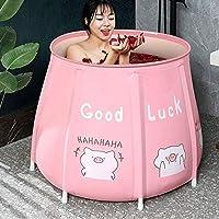 PVC Bath Barrel, Foldable Thickened Bath Barrel, Domestic Full Body Bathtub, Portable Children's Bathtub, Double Drain Design (50cm)
