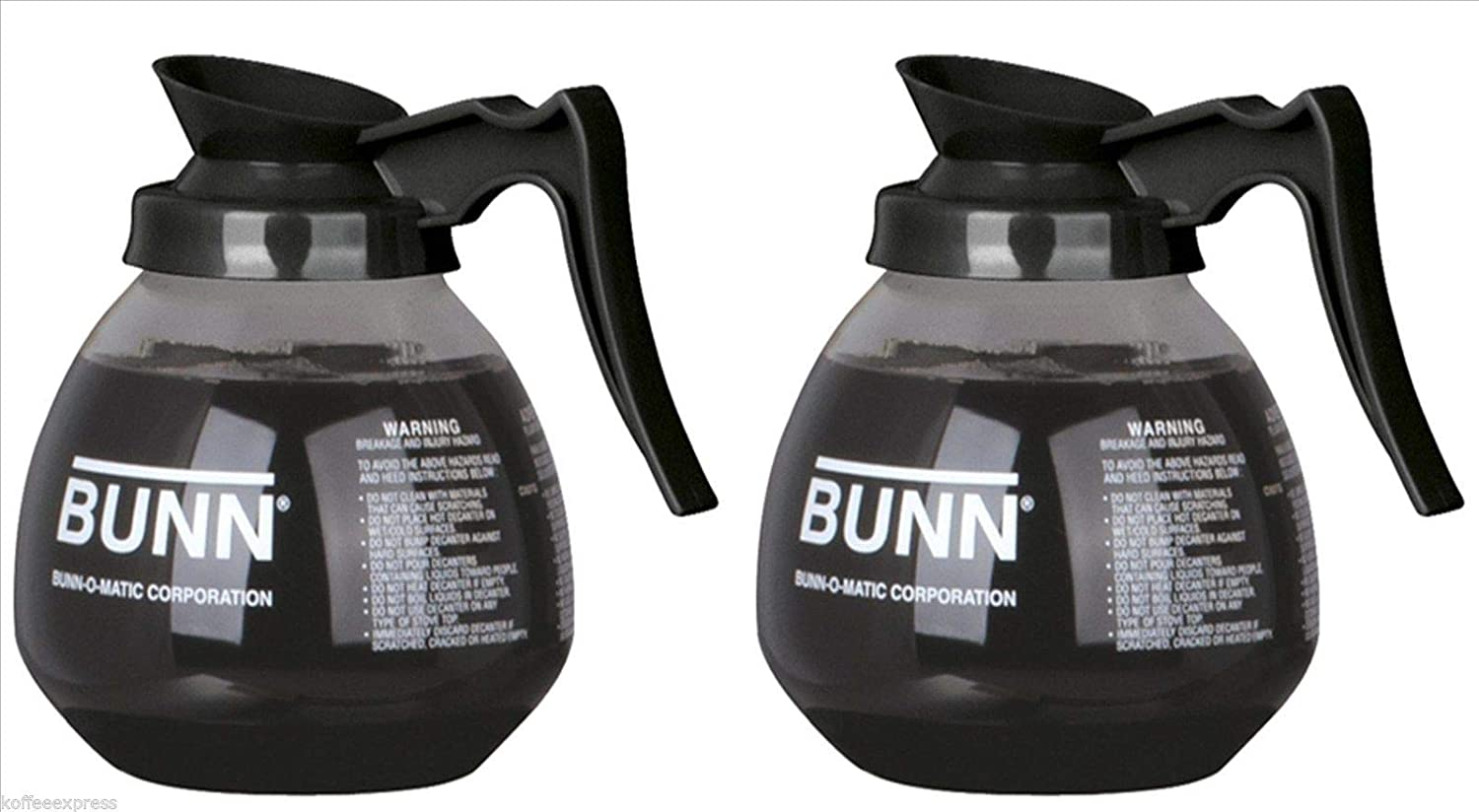 BUNN Glass Coffee Pot Decanter/Carafe, Regular, 12 cup Capacity, Black, Set of 2