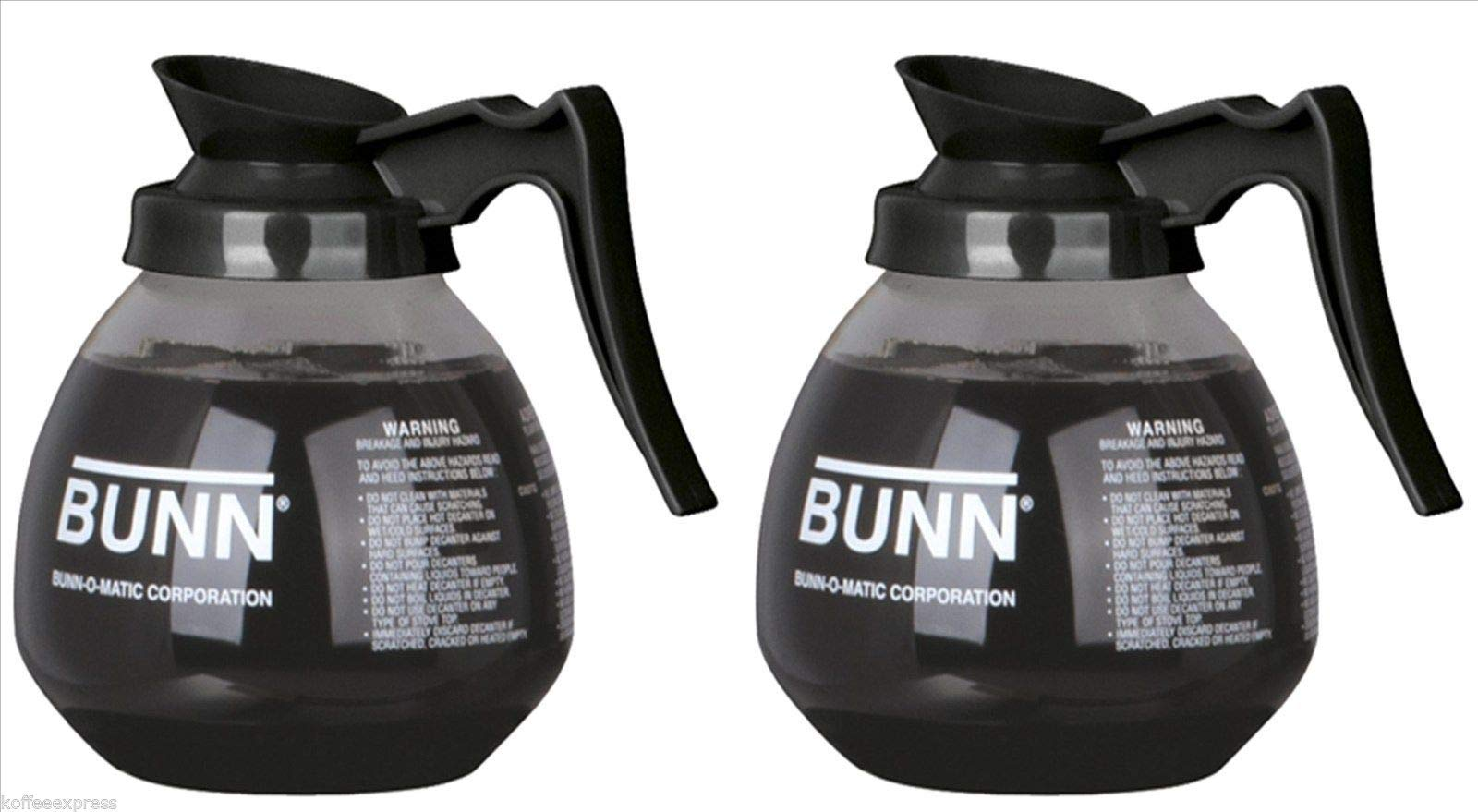 BUNN Glass Coffee Pot Decanter/Carafe, Regular, 12 cup Capacity, Black, Set of 2 by BUNN (Image #1)