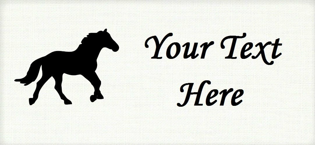 Black Horse Pony Stallion – Cotton Fabric Labels for Handmade Items/Customized Garment Clothing Size Fabric Labels/Personalized Printed Fabric Sew Tag Labels/Quilt, Crochet, Knit, Sewing
