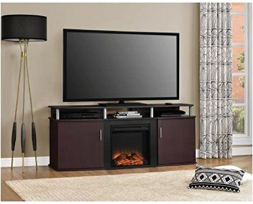 Ameriwood Home Carson Electric Fireplace TV Console for TVs up to 70 , Cherry Black