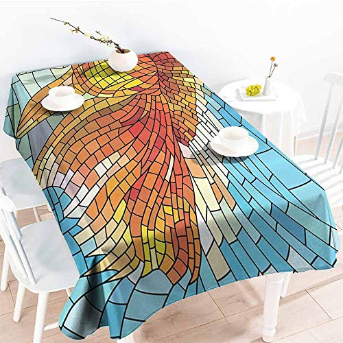 (Oblong Tablecloth,Abstract,Orange Tropical Fish Style with Mosaic Art Pattern Stained Glass Window and Gold Fish Underwater,Blue Ocean 60