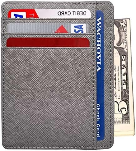 RFID Men's Slim Front Pocket Minimalist Blocking Leather Wallet Card Holder