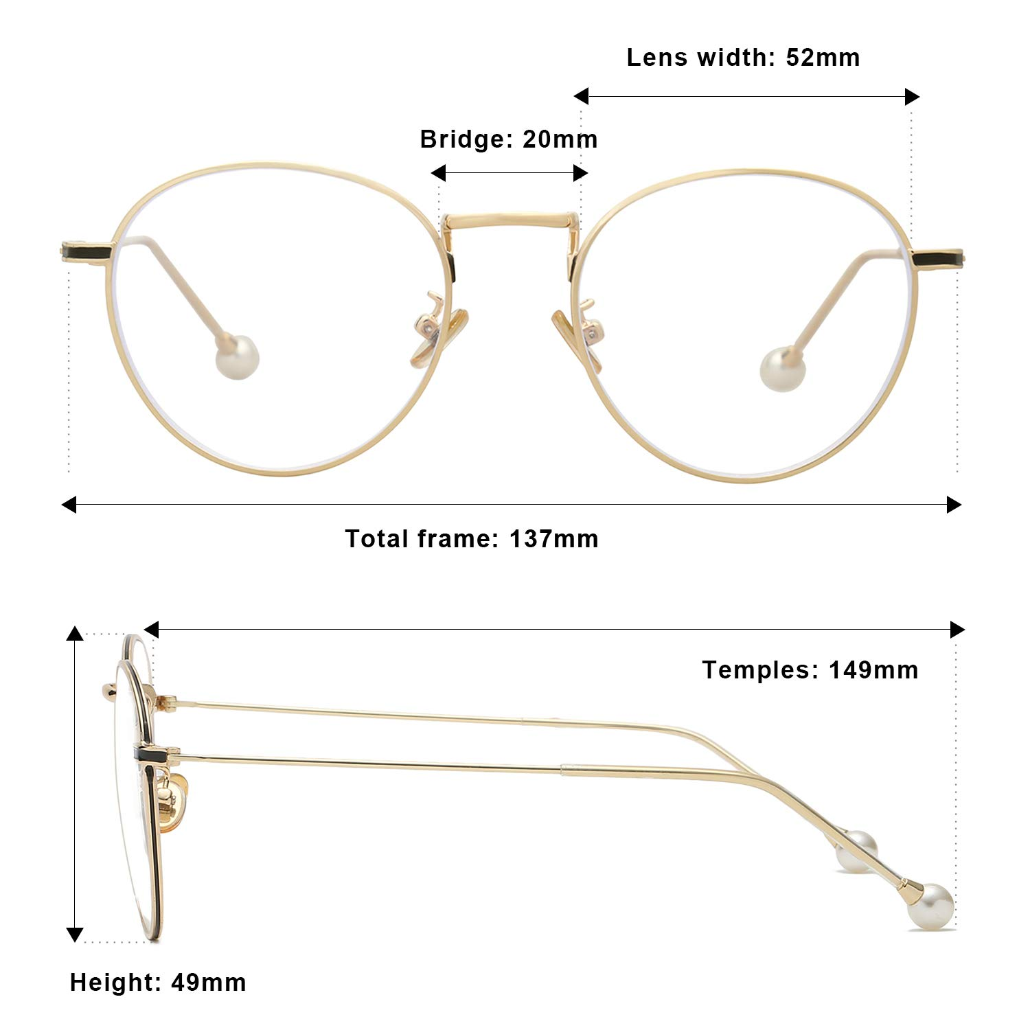 a3df4e640f52 Amazon.com  VANLINKER Clear Lens Eyeglasses Anti Blue Light Computer  Reading Glasses VL9002 C1 Gold Frame with Pearl Tips  Health   Personal Care