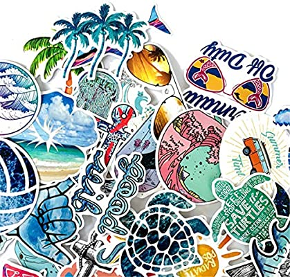Beach Stickers 50pcs Blue Surfing Waves Fresh Lively Turtle Laptop and Water Bottle Vinyl Decals Cartoon Vitality Aesthetic Sticker Pack for Teens Girls Vinyl Decals Waterproof Beach Surfing