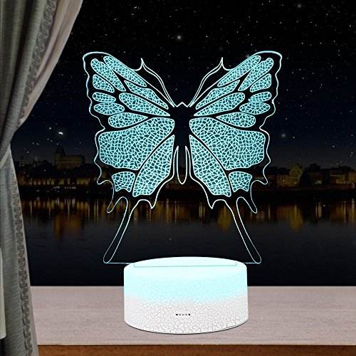 Butterfly 3D LED Night Light Lamps, 3D Optical Illusion Lamp 7 Colors Touch Xmas Decoration Lighting Table Desk Visual Lamp, for Home Decoration and Kiddie Kids Children Family Holiday Gif (Butterfly) -
