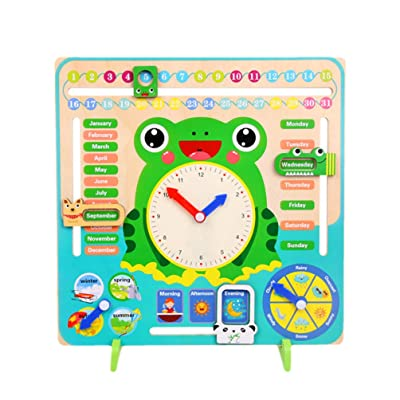 TOYANDONA Wooden Calendar Clock Toy Learning Time Date Season Weather Early Educational Toy for Baby Infant Newborns: Toys & Games [5Bkhe0501641]