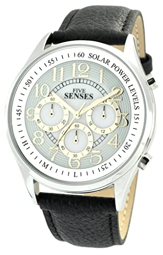 Hablando reloj atómico SOLAR POWER sentidos Unisex piel banda 1084: Amazon.es: Relojes