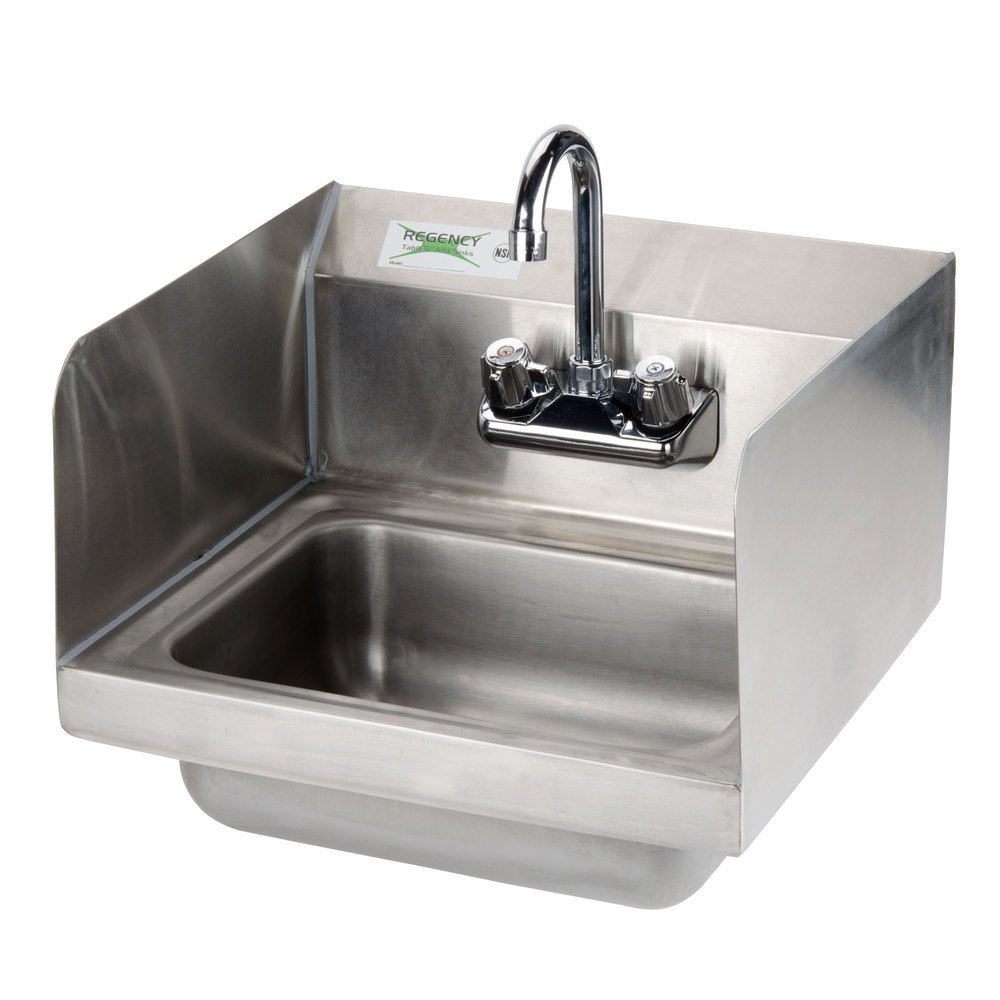 Wall Mounted Hand Sink with Gooseneck Faucet and Sidesplash, 17'' x 15''Stainless Steel