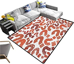 Modern Large Carpet Question Marks Pattern Sketch Stylized Hand Drawn Creative Contemporary Design Extra Comfy and Soft Carpet Ruby Vermilion (5'x8')
