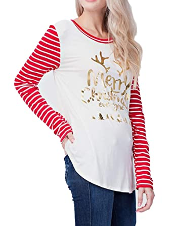 dc79c9655273b4 Amazon.com  Women Letter Printed Christmas Holiday Striped Patchwork T-Shirt  Top(S