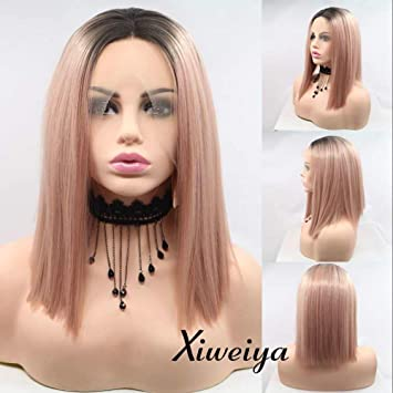 Amazon Com Xiweiya Short Straight Hair Bob Wigs Ombre Rose Gold
