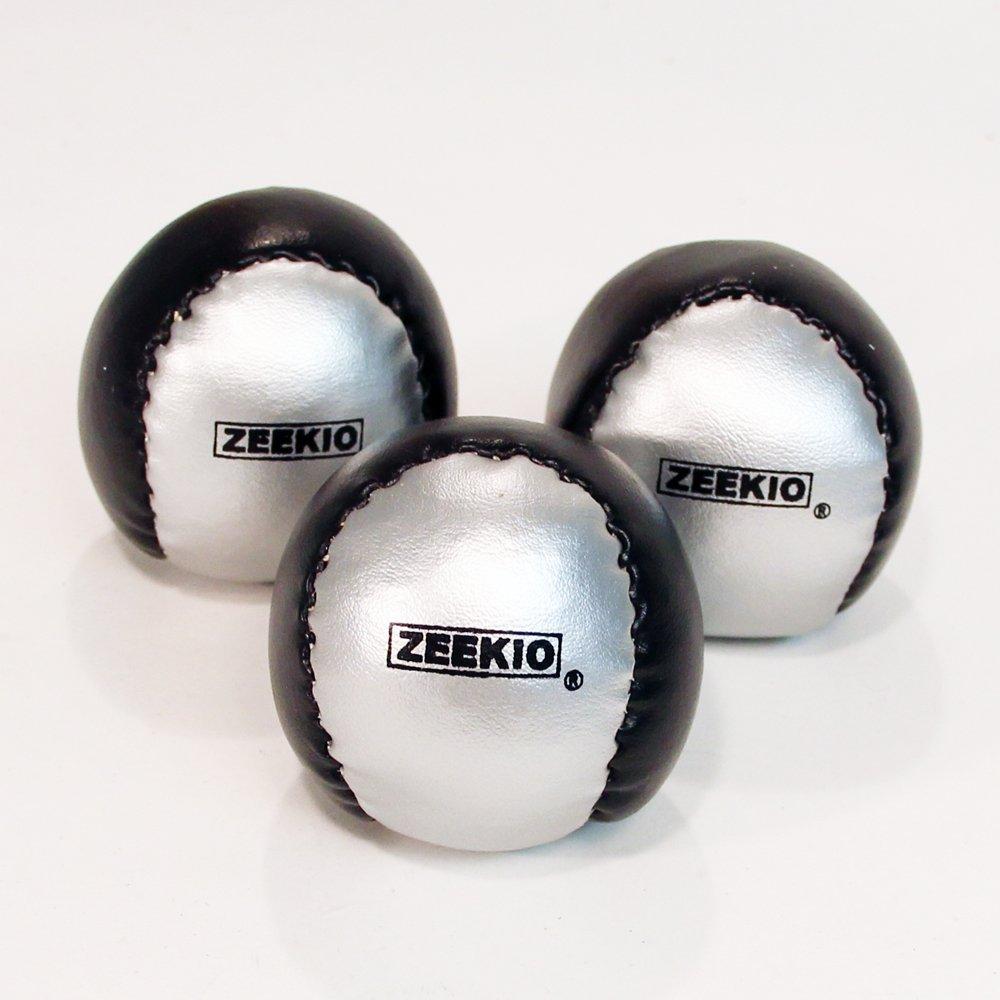 Zeekio Beginner Juggling Ball Set 3 100g Silver and Black