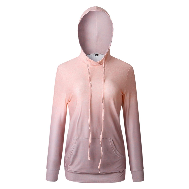 YUNY Women Cargo Pocket Long Sleeve Ombre Loose Outwear Hoodie Sweatshirts AS1 L