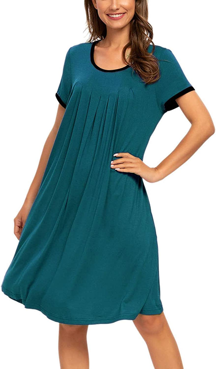 MINTLIMIT Womens Short Sleeve Pleated Scoopneck Sleep Dress Loungewear Nightshirts with Pockets