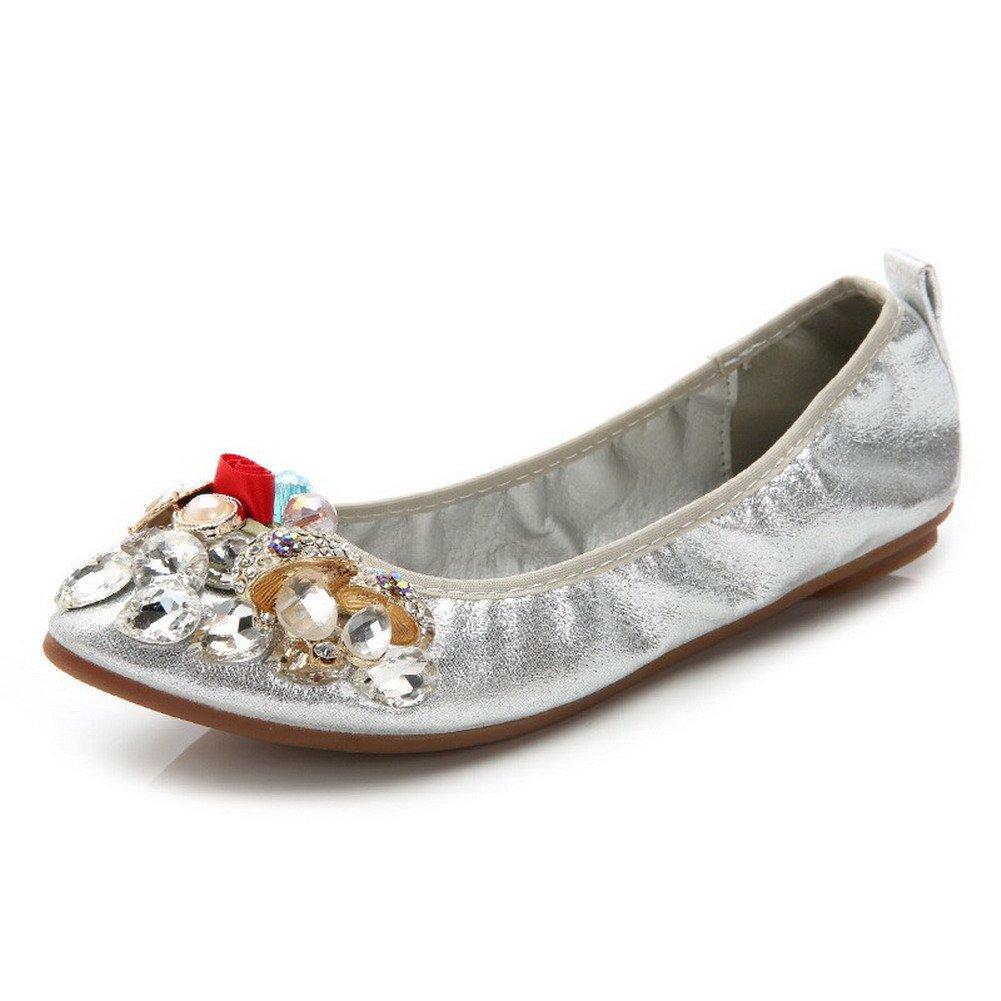 AalarDom Women's No-Heel Pointed-Toe Flats-Shoes Zircon Glass Diamond, Silver-Sequin, 40